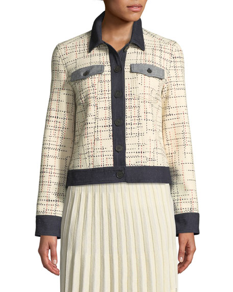 Button-Front Tweed Jacket w/ Denim Trim