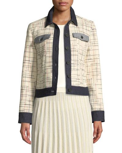 Button-Front Tweed Jacket w/ Denim Trim