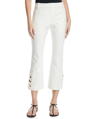 Cropped Flare-Leg Trousers with Split Hem