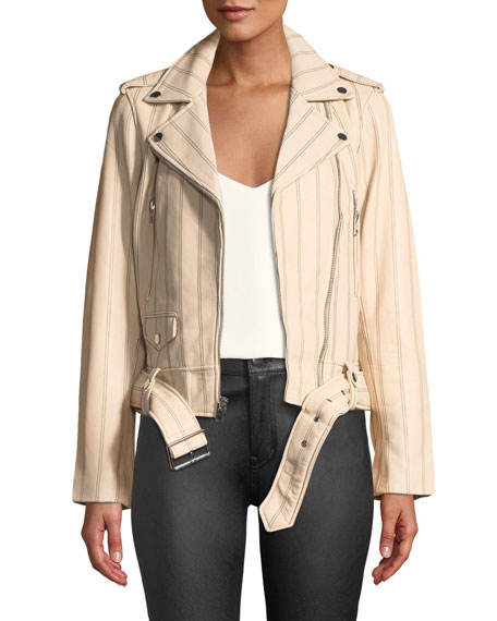 Striped Leather Zip-Front Moto Jacket