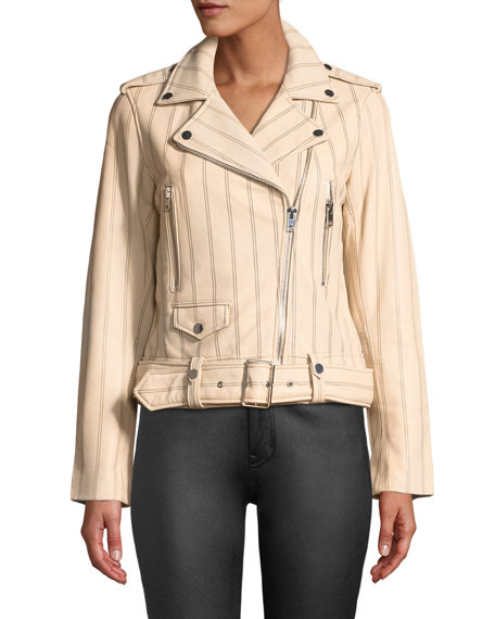 Derek Lam 10 Crosby Striped Leather Zip-Front Moto