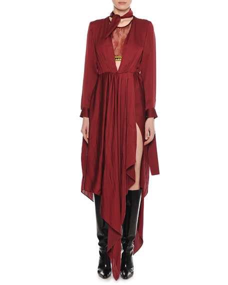 Plunging Long-Sleeve Cutout-Back Foulard Dress