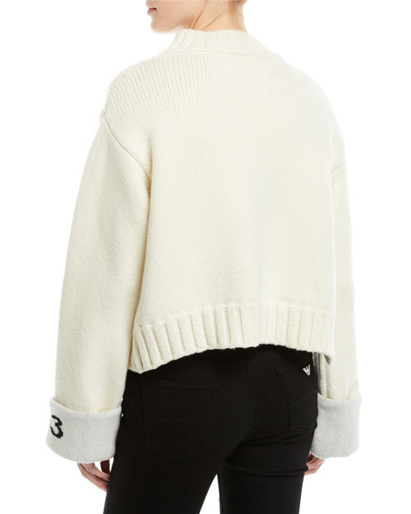 Asymmetric Cuffed Wool Sweater