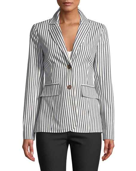 Striped Single-Breasted Cotton Blazer