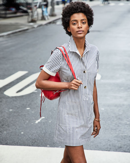 Striped Button-Front Utility Shirtdress