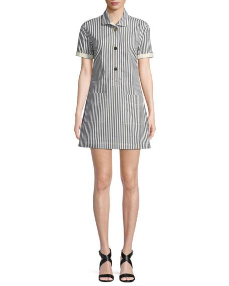 Striped Button-Front Utility Shirtdress