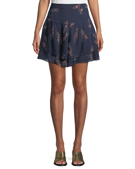 Derek Lam 10 Crosby Pleated Floral-Print Mini Skirt