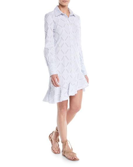 Long-Sleeve Shirtdress w/ Ruffle Hem