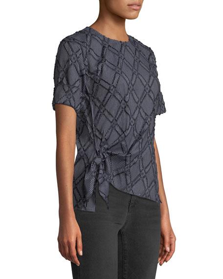 Diamond-Stripe Short-Sleeve Knotted Top