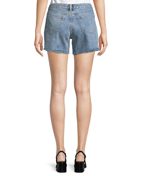 Boy-Fit Frayed Denim Cutoff Shorts