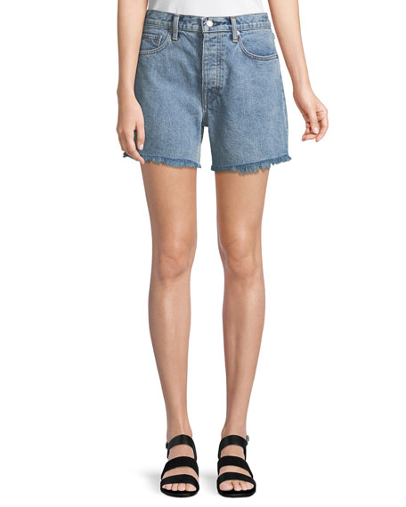 Helmut Lang Boy-Fit Frayed Denim Cutoff Shorts