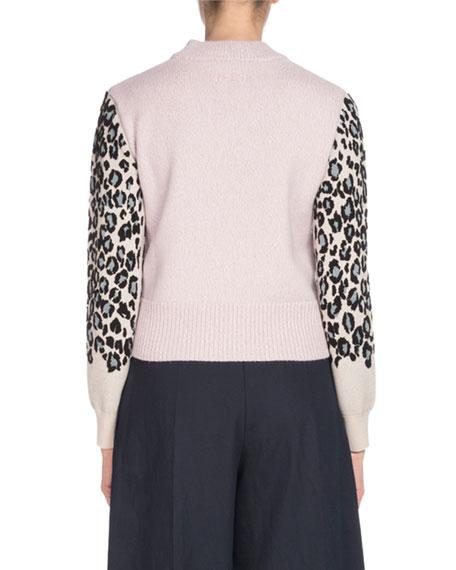 Leopard-Print Wool Pullover Sweater