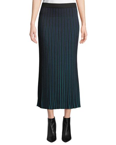 Striped Knit Pleated Midi Skirt