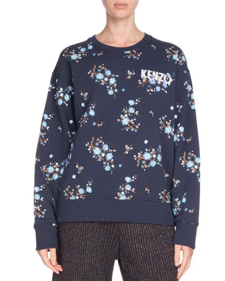 Comfort Floral-Print Crewneck Logo Sweatshirt