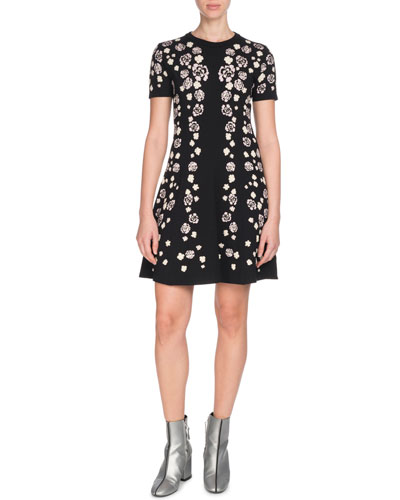 Short-Sleeve Floral Fit-and-Flare Dress