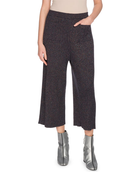 Ribbed Metallic Pull-On Culotte Pants
