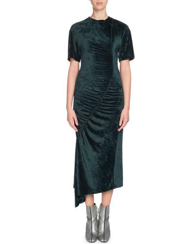 Asymmetric Gathered Velvet Midi Dress