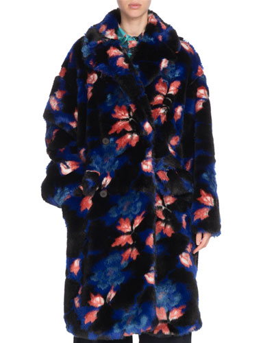 Oversized Floral-Print Faux-Fur Coat