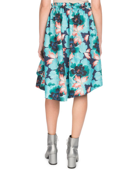 Ruffle Floral-Print Side-Tie Skirt