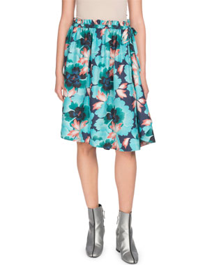 f554685666621 Kenzo Ruffle Floral-Print Side-Tie Skirt