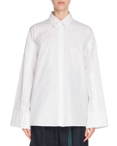 Button-Front Flared Cotton Shirt