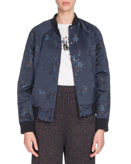 Teddy Floral Snap-Front Bomber Jacket