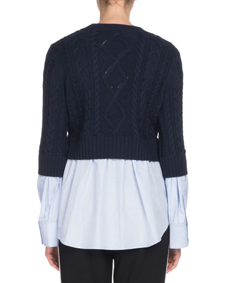 Mixed-Knit Long-Sleeve Top