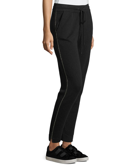 Neiman Marcus Cashmere Collection Chain-Trim Cashmere Jogger