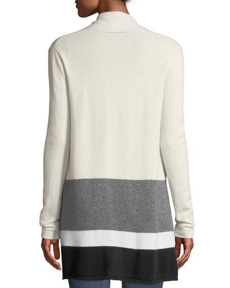 Colorblock Open-Front Cashmere Cardigan