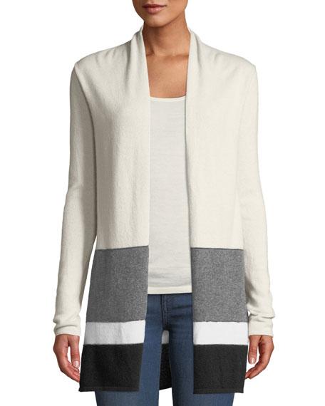 Neiman Marcus Cashmere Collection Colorblock Open-Front Cashmere