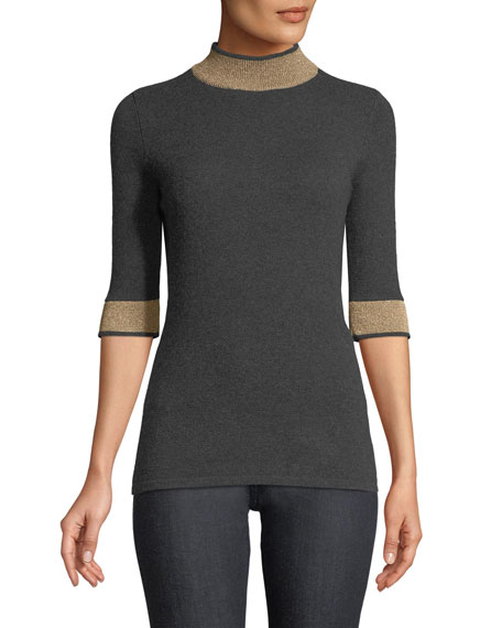 Cashmere Metallic-Banded Half-Sleeve Sweater