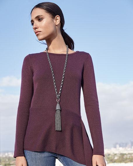 Superfine Cashmere Metallic Asymmetric Peplum Sweater