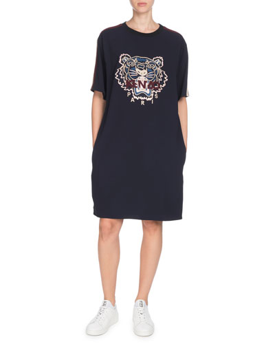 Short-Sleeve Tiger Logo Tee Dress with Pockets