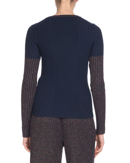 Metallic Fitted Ribbed Crewneck Sweater