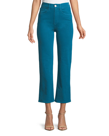3X1 W4 Shelter Cropped Wide-Leg Jeans in Peacock Blue