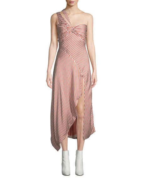 Striped Twisted Asymmetric One-Shoulder Midi Dress