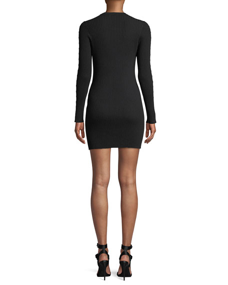 Ribbed Long-Sleeve Stapled Mini Dress