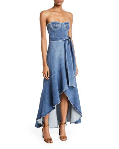 Classic Denim Bustier Wrap Dress