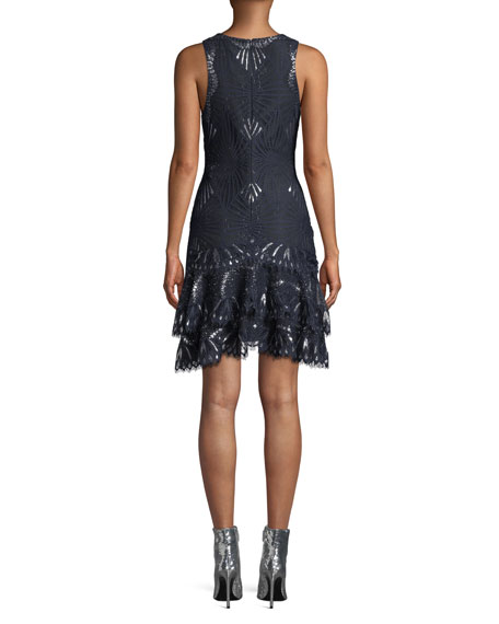 Sheer Metallic Sleeveless Short Dress