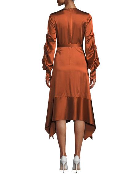 Fluid Satin Keyhole Asymmetric Midi Dress