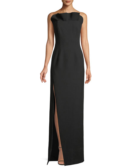 Kiera Strapless Side-Slit Frill Gown
