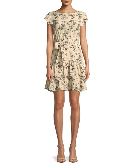 Sofia Floral Silk Short-Sleeve Dress
