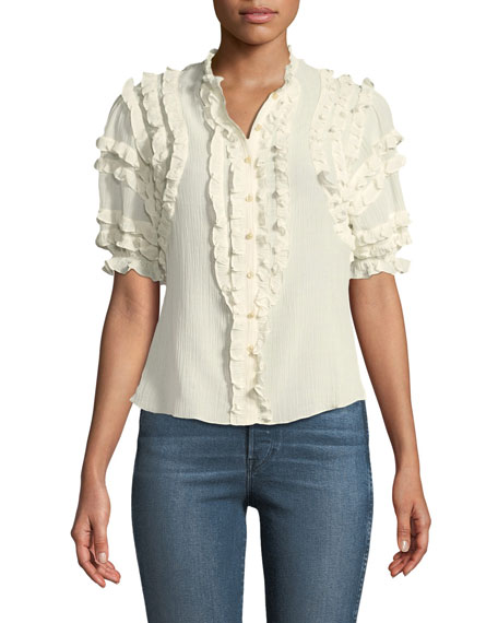 Short-Sleeve Ruffled Voile Top