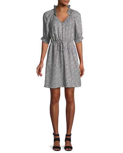Lauren Floral 3/4-Sleeve Silk Mini Dress