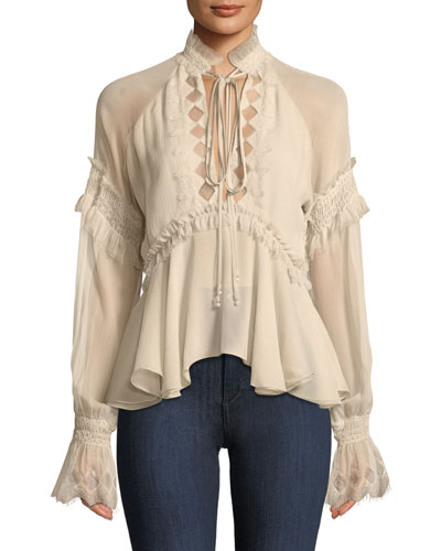 Silk Blouson-Sleeve Top with Lace