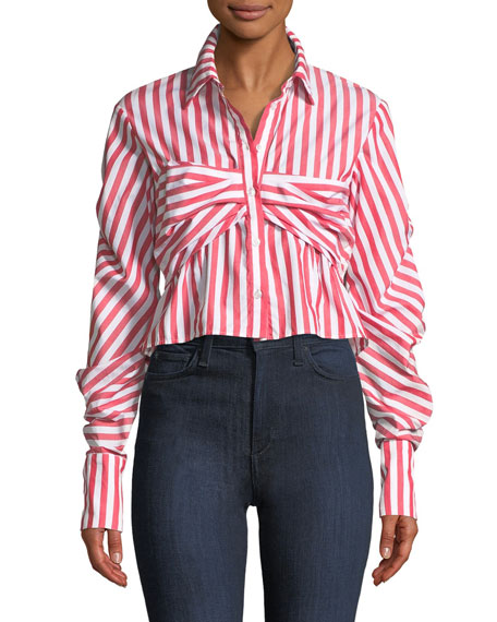 Pleated Combo Tucked-Sleeve Poplin Top