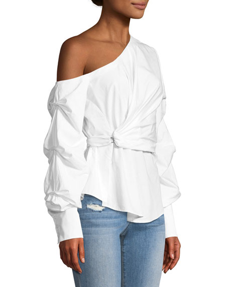 Gathered One-Shoulder Oxford Top