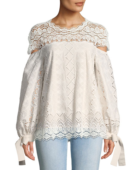 Diamond Lace Blouson-Sleeve Blouse