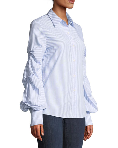 Striped Button-Down Top with Puff Sleeves