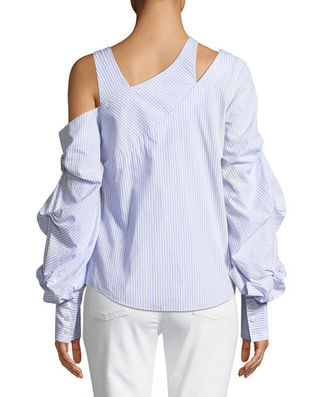 Asymmetric Poplin Blouson-Sleeve Top